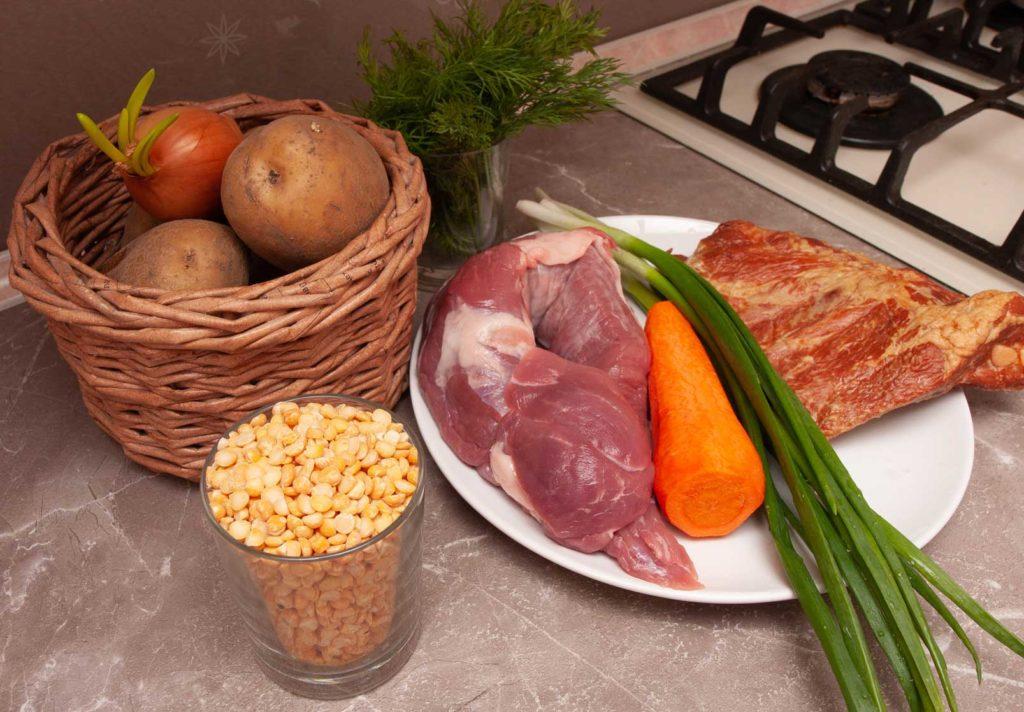 продукты для горохового супа с копчеными ребрышками