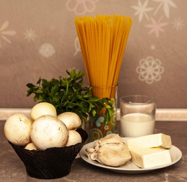 ингредиенты, которые нужны для пасты с грибами в сливочном соусе