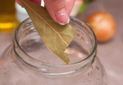 когда сахар и соль растворятся добавляю в банку с домашним маринадом лавровый лист