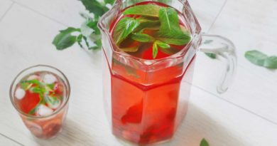 освежающий вишневый лимонад с мятой и имбирем