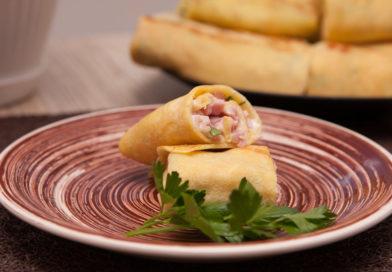 простой рецепт блинчиков с ветчиной и сыром