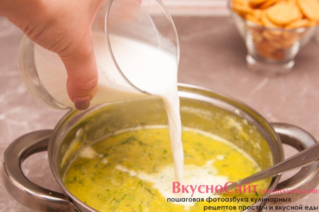 подогретые сливки вливаю в суп