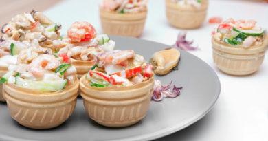 очень быстрый и простой рецепт тарталеток с морепродуктами
