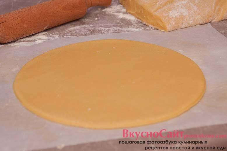 каждую часть теста раскатываю на пекарской бумаге толщиной не более 5 мм и вырезаю нужную мне форму