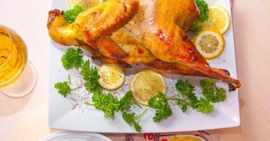 Запеченный петух в духовке в лимоно-имбирном соусе