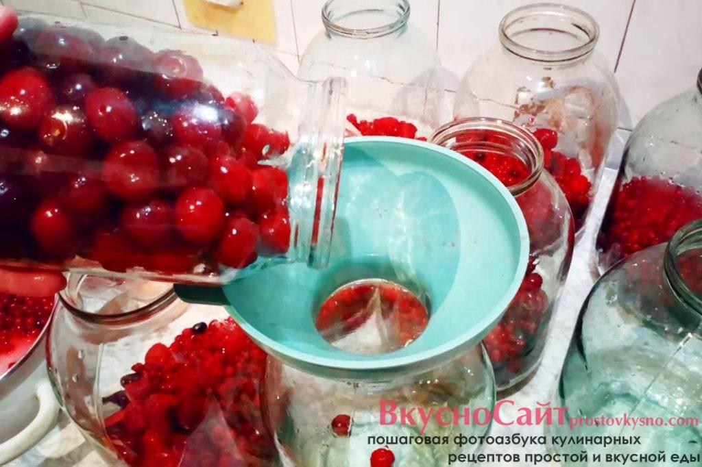 в хорошо вымытые и простерилизованные 3-литровые банки добавляю вымытые вишни