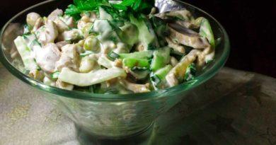 Салат из куриных желудочков
