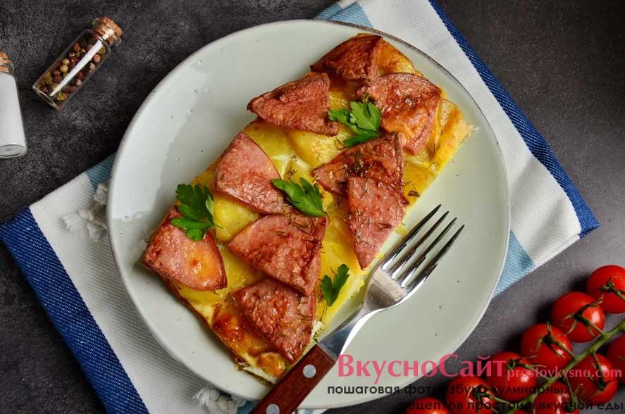 Завтрак крестьянина (картофель, колбаса, яйца - в духовке)