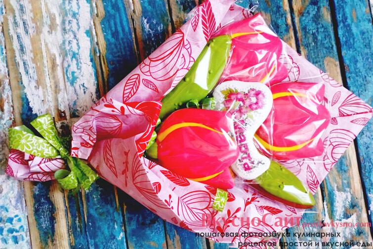 розовый букет пряников на 8 марта