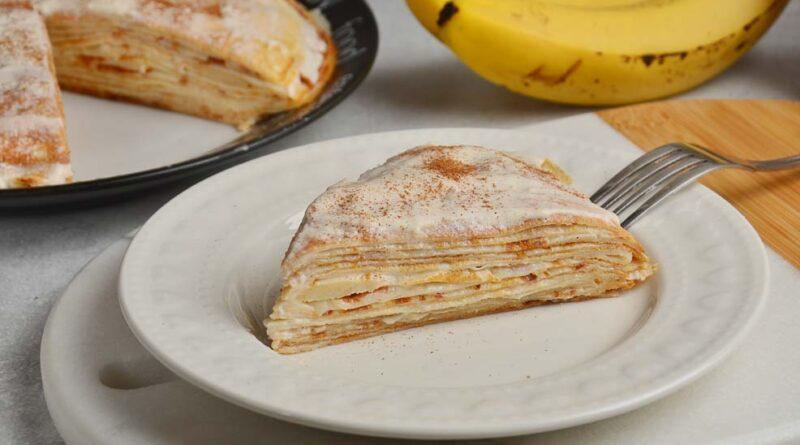 Блинный торт с банановым кремом