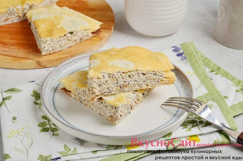 Простой рецепт блинного торта с курицей и грибами