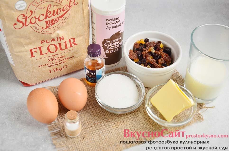 чтобы приготовить кекс с изюмом и цукатами нужны такие ингредиенты