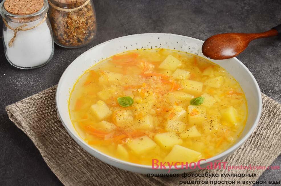 Суп с картофелем и чечевицей