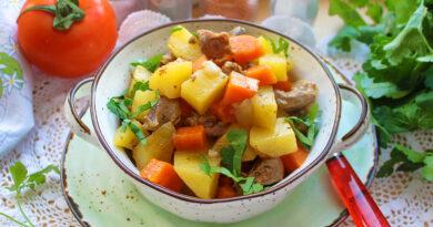 Куриные желудочки с овощами в рукаве
