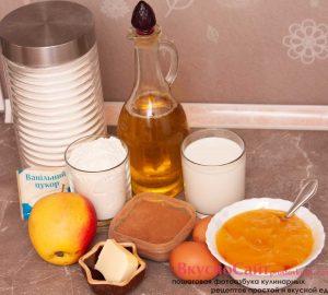 ингредиенты для блинчиков с яблоками и корицей и начинки
