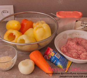 необходимые продукты приготовления фаршированного перца