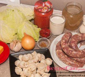 для приготовления итальянского супа с купатами и пельменями мне понадобятся следующие ингредиенты