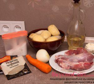 для приготовления картошки с мясом в рукаве мне понадобится