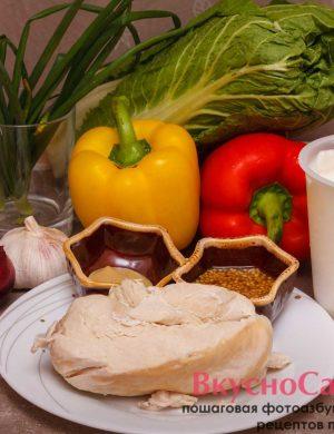 необходимые продукты для весеннего салата с пекинской капустой