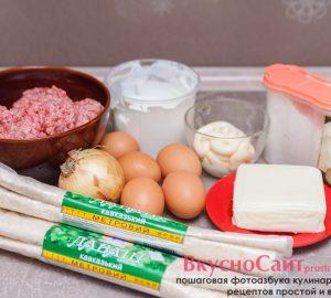Мясной пирог из лаваша и фарша готовится из этих ингредиентов