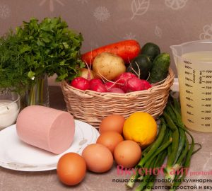 требуемые продукты для приготовления окрошки на сыворотке