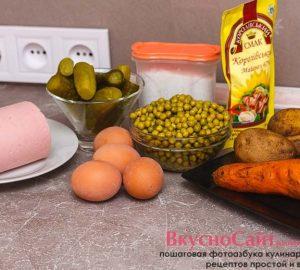 для приготовления оливье мне понадобятся следующие продукты