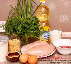 требуемые ингредиенты для куриных наггетсов