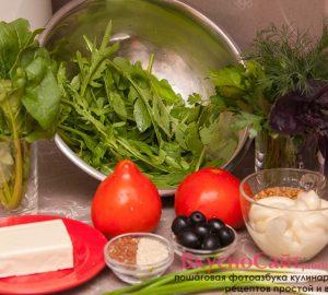 для салата из рукколы, шпината и плавленного сыра мне понадобится