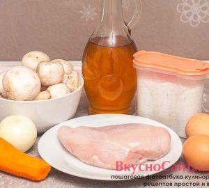 для приготовления салата из курицы, грибов и яичных блинов мне потребуются такие ингредиенты