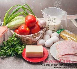 необходимые продукты для запеканки из длинных макарон