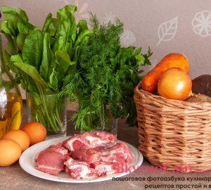 для зелёного борща с щавелем мне потребуется следующий набор продуктов