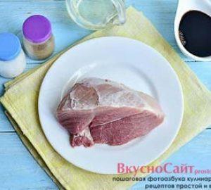 для приготовления жареной свинины в соевом соусе мне понадобятся следующие продукты